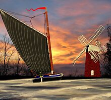 Norfolk Wherry and Windmill, Norfolk Broads - all products by Dennis Melling