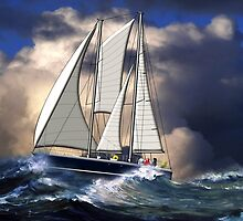 Pagan Staysail Schooner in Rough Seas - all products by Dennis Melling
