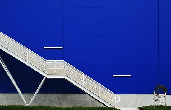 Blue Wall with Stairs by Janet Leadbeater