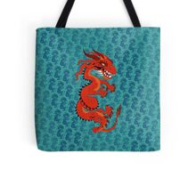 Red Dragon on Teal Tote Bag