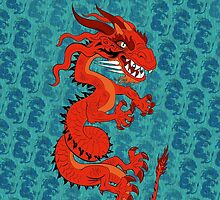 Red Dragon on Teal by Dave Stephens