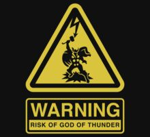 WARNING Risk of God of Thunder by DemonigoteTees