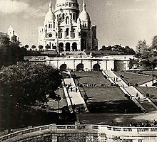 Vintage Sacré-Coeur de Montmartre in Paris Photo by stine1