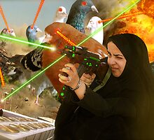 The Hijabi Heroines take on the Intergalactic dOve Invaders by Kenny Irwin