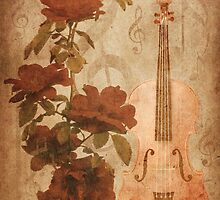 Grunge roses and violin by AnnArtshock