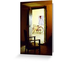One Chair and a bike in a concrete block in Bihar Greeting Card