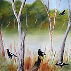 Magpies of the Aussie bush by Faye Doherty