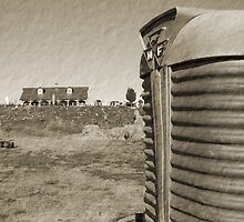 Farm and Tractor Country Scene Sepia Brown Tone Photo by Adri Turner