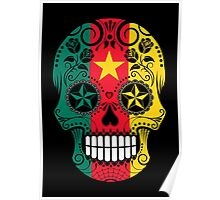 Sugar Skull with Roses and Flag of Cameroon Poster