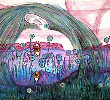 """Girl in a Field of Blue Flowers- Drawing by Belinda """"BillyLee"""" NYE (Printmaker)"""