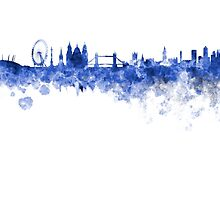 London skyline in blue watercolor on white background by paulrommer