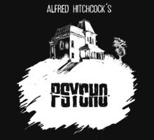 Alfred Hitchcock's Psycho by Burro! (black tee version) by burrotees