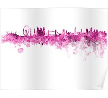 London skyline in pink watercolor on white background Poster