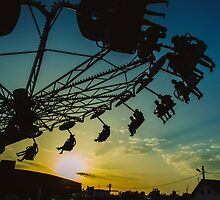 Amusement park sunset by lalylaura