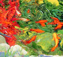 Koi Pond 2 in Los Angeles California painting by RD Riccoboni by RDRiccoboni