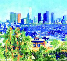 View of  Los Angeles California from Hollywood Hills painting by RD Riccoboni by RDRiccoboni