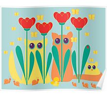 Rabble Of Butterflies In Tulip Garden Poster