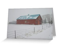 Snowy Day on the Farm Greeting Card