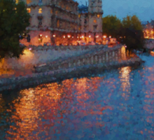 Impressions of Paris - Seine River at Night Sticker