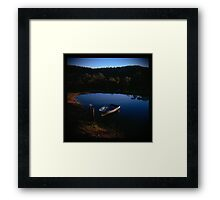 Holga madness.... little boat and reflection in daniland Framed Print