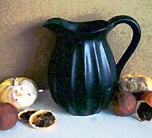 Black Pitcher with Old Fruit by suzannem73