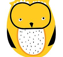 Retro owl yellow by laurathedrawer