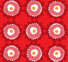 Retro red flowers by laurathedrawer
