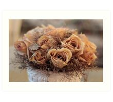 Dried Roses Flower Arrangement  Art Print