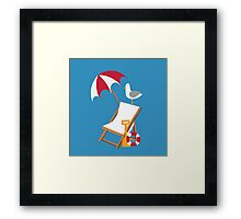 Block Blue Seagulls Framed Print