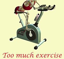 Too much exercise-card with text by Annika Strömgren