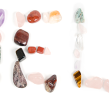 New age crystals and gemstones spelling out Help Sticker