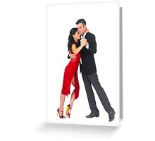 Couple dances tango On white Background Greeting Card