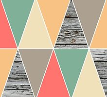 Trendy Pink/Mint Chevron and Wood Pattern  by SnarkySharkS