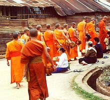 Monks receiving their daily meal,  by rochelle