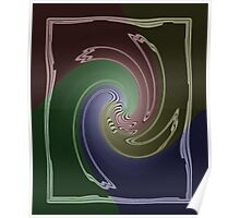 Abstract Four Color Blue Green Maroon Spiral Swirl Design Poster