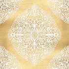 White Gouache Doodle on Gold Paint by micklyn