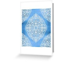 White Gouache Doodle on Pearly Blue Paint Greeting Card
