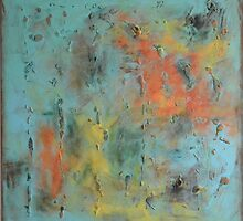 """Square vintage Abstract painting landscape painting, mid century canvas art """"Best place on earth"""" - 37x37 inches , free shipping by Veronica  Vilsan"""