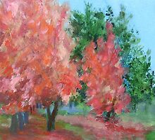 Autumn trees by rosalind roberts