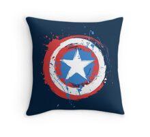 Captain America Shield Paint Splatter Design Throw Pillow