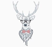 Deer hipster in glasses, hand drawn style 4 Kids Clothes