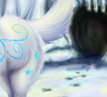 Miyu the White Wolf Sticker