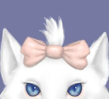 White Kitty with a bow by cloverkat