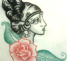 Illustration no.1 Gypsy Head with Rose by megansnyder