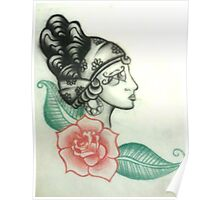 Illustration no.1 Gypsy Head with Rose Poster