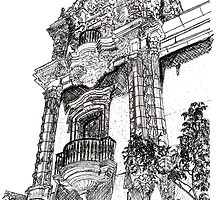 Tower in the Park drawing by RD Riccoboni by RDRiccoboni