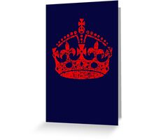 Distressed Grunge Keep Calm Crown Greeting Card