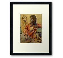 Woman with mask Framed Print