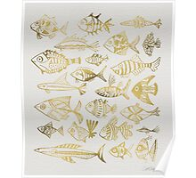 Gold Inked Fish Poster
