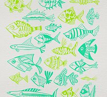 Green Inked Fish by Cat Coquillette